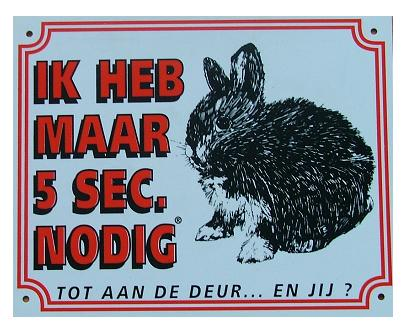 Waakbord 5 sec. konijn