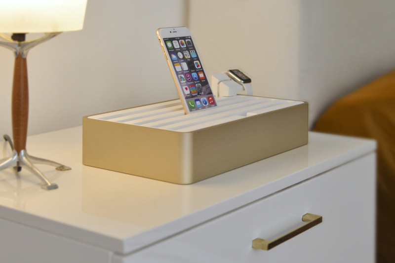 ALLDOCK large aluminium gold with white