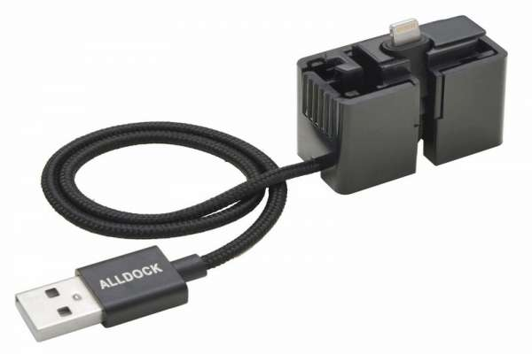 ALLDOCK ClickIn adapter zwart, met MFI USB kabel.