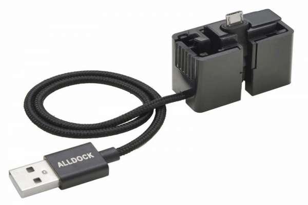 ALLDOCK ClickIn adapter zwart, met micro USB kabel.