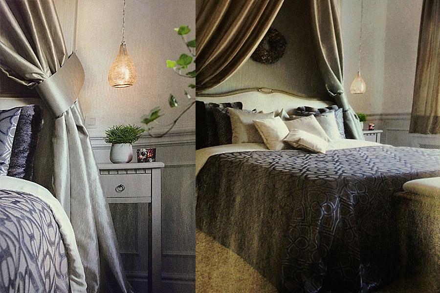 Arabische lampen bosa naast bed in slaapkamer