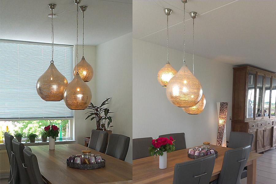 Oosterse lampen Uma boven eettafel