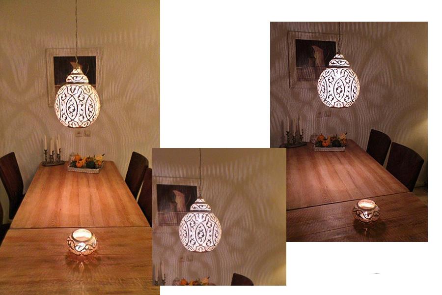 Oosterse lamp Anwar boven eettafel