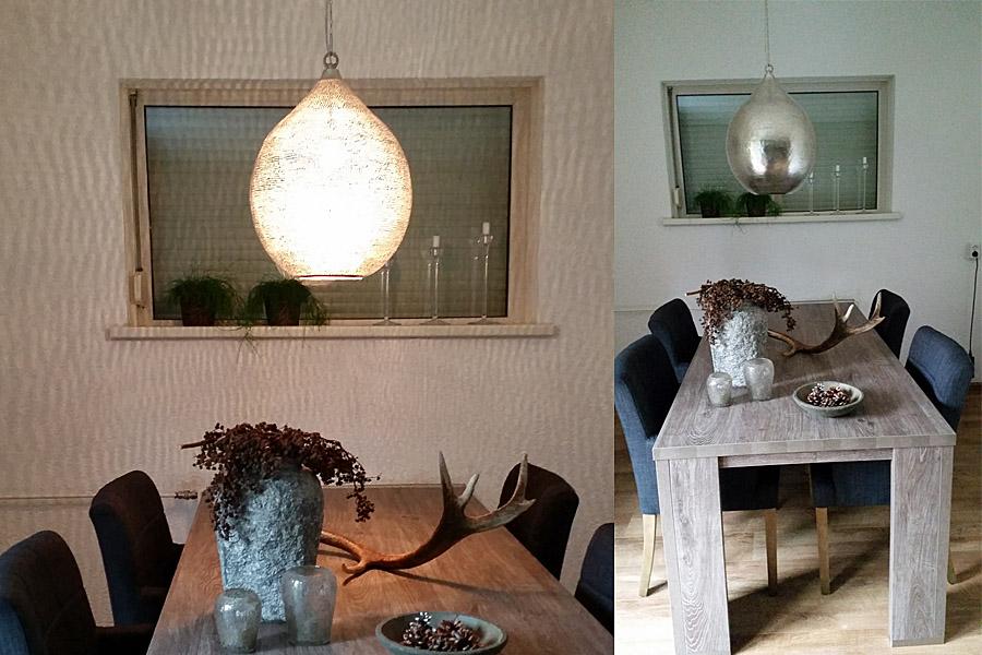 Oosterse lamp Uma XL boven eettafel
