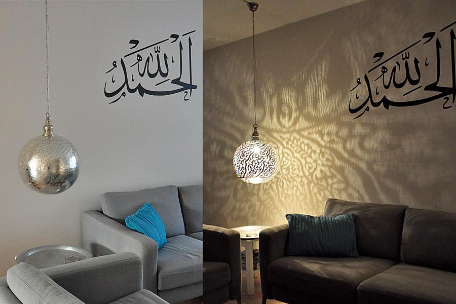 Egyptische hanglamp Isra XL boven salontafel