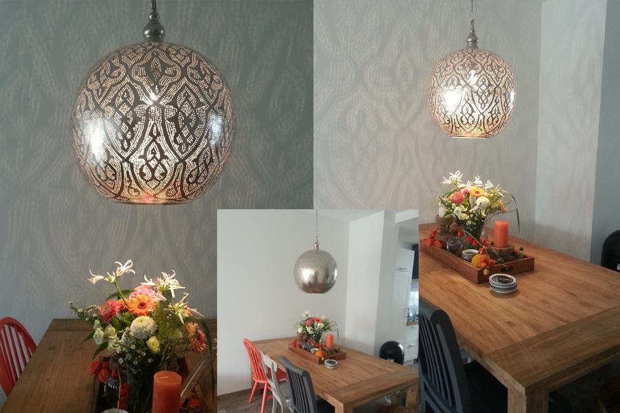 egyptische hanglamp boven eettafel
