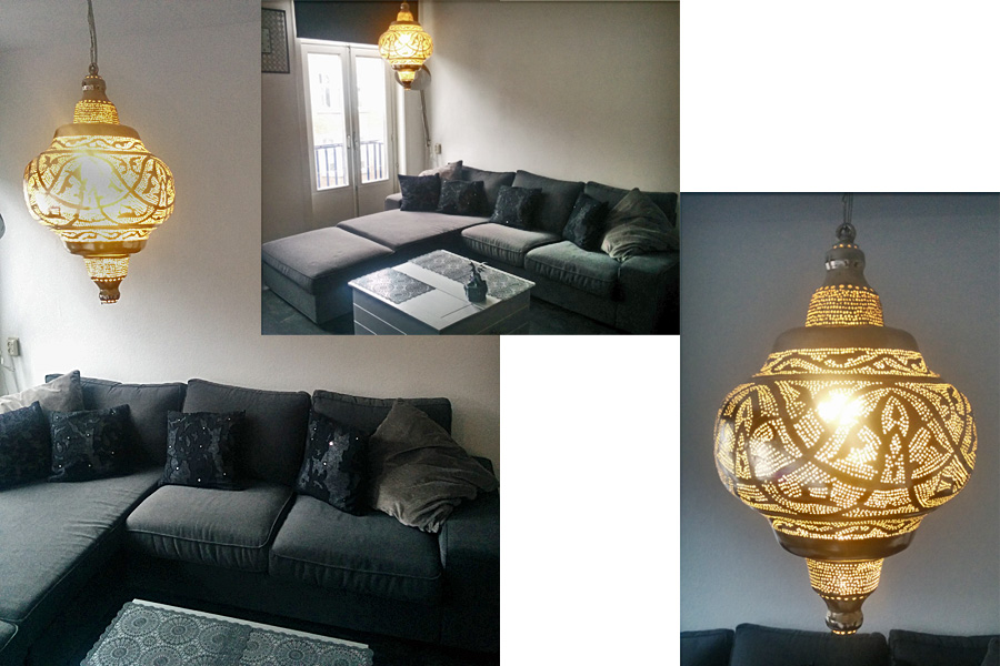 Oosterse lamp Basha XL in woonkamer