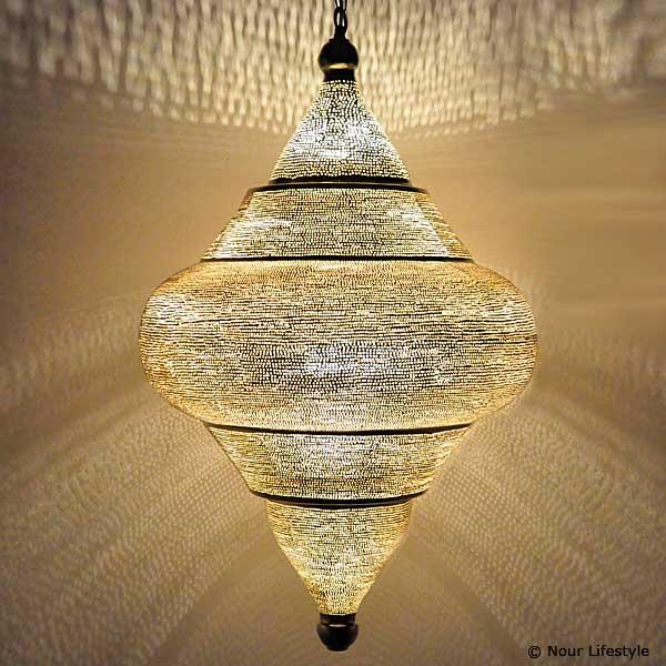Arabische hanglamp Basha gaatjes - extra groot