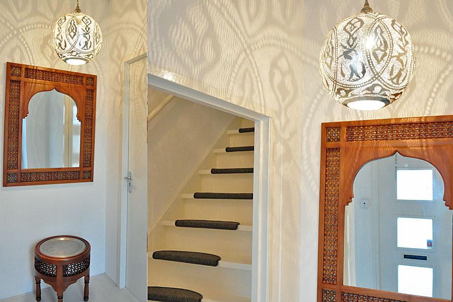 Arabesk tafel en spiegel + hanglamp Qorna