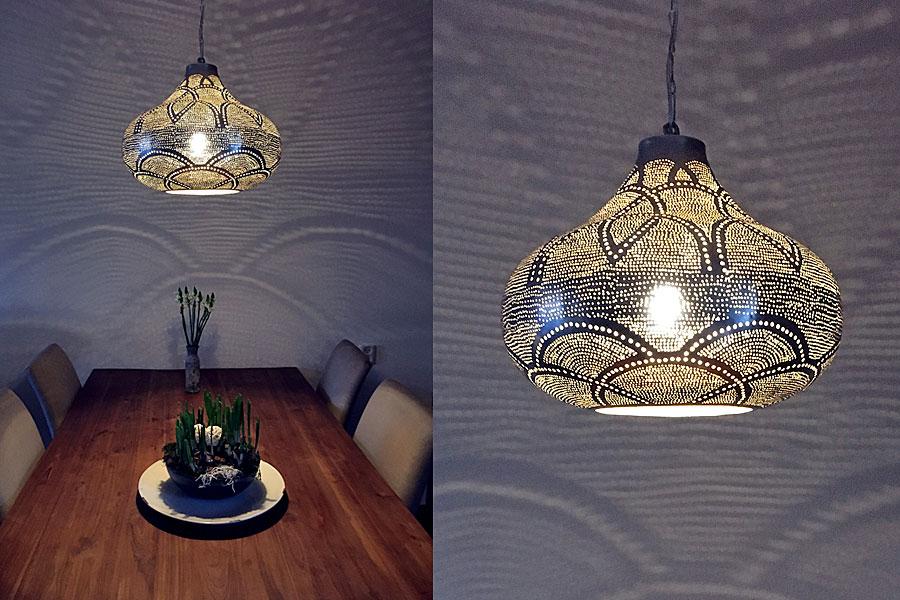 Oosterse hanglamp Ienas boven eettafel