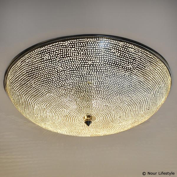 Egyptische Plafondlamp Warda G Ronde Verzilverde