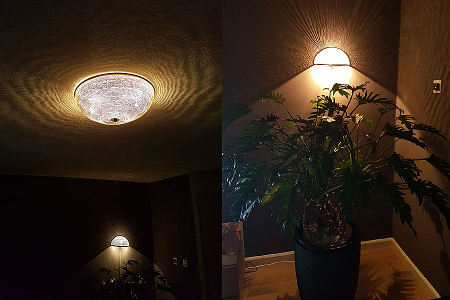 Plafondlamp Warda en wandlamp Helal met gaatjes