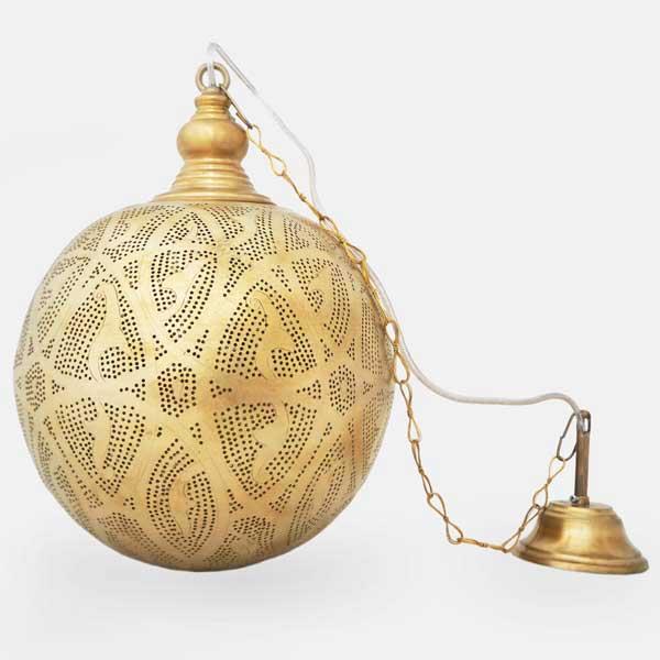 Arabische hanglamp Isra - gesloten bol - geel koper