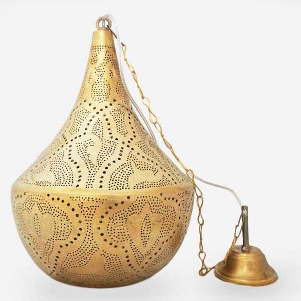 Arabische hanglamp Tarboush Q - geel koper