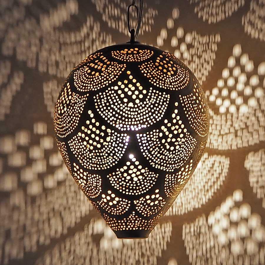 Arabische hanglamp Nada R - geel koper