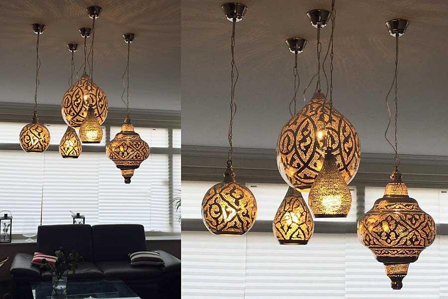 Groep Oosterse lampen woonkamer