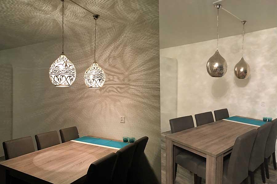 Eettafel met Oosterse lampen Haifa