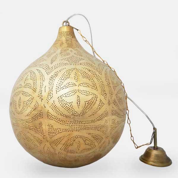 Arabische hanglamp Kenzi - geel koper