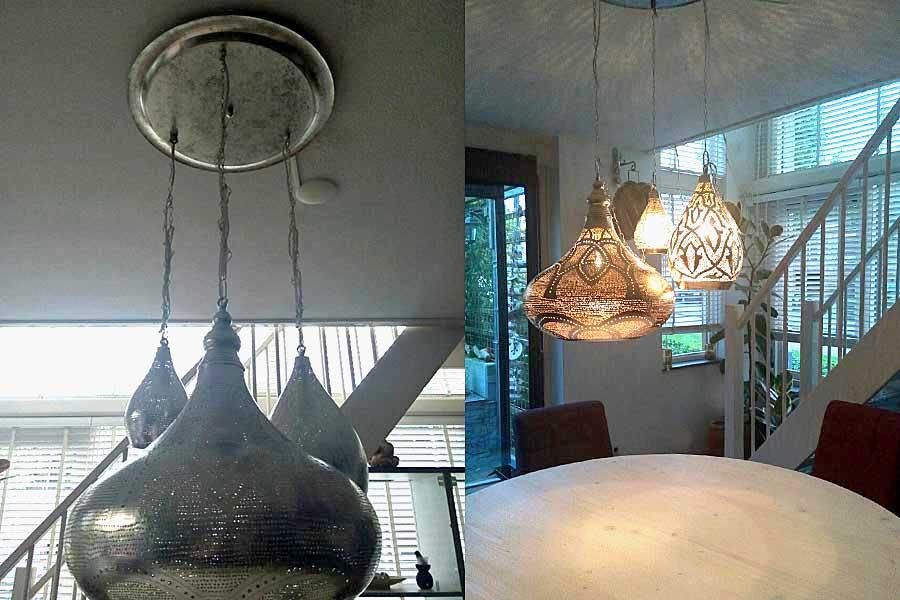 Groep lampen boven eettafel
