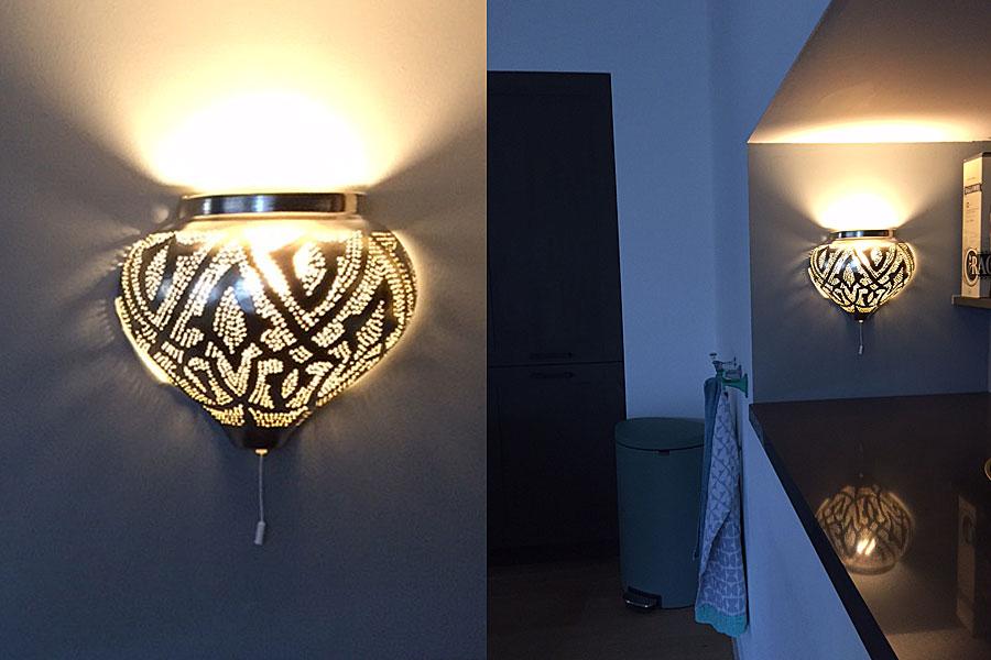 Wandlamp Mieja in koffiecorner keuken