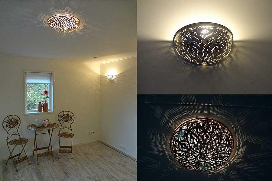 Plafondlamp Warda A + wandlamp Helal