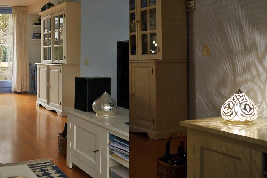 Kleine tafellamp Narjas met Arabisch patroon