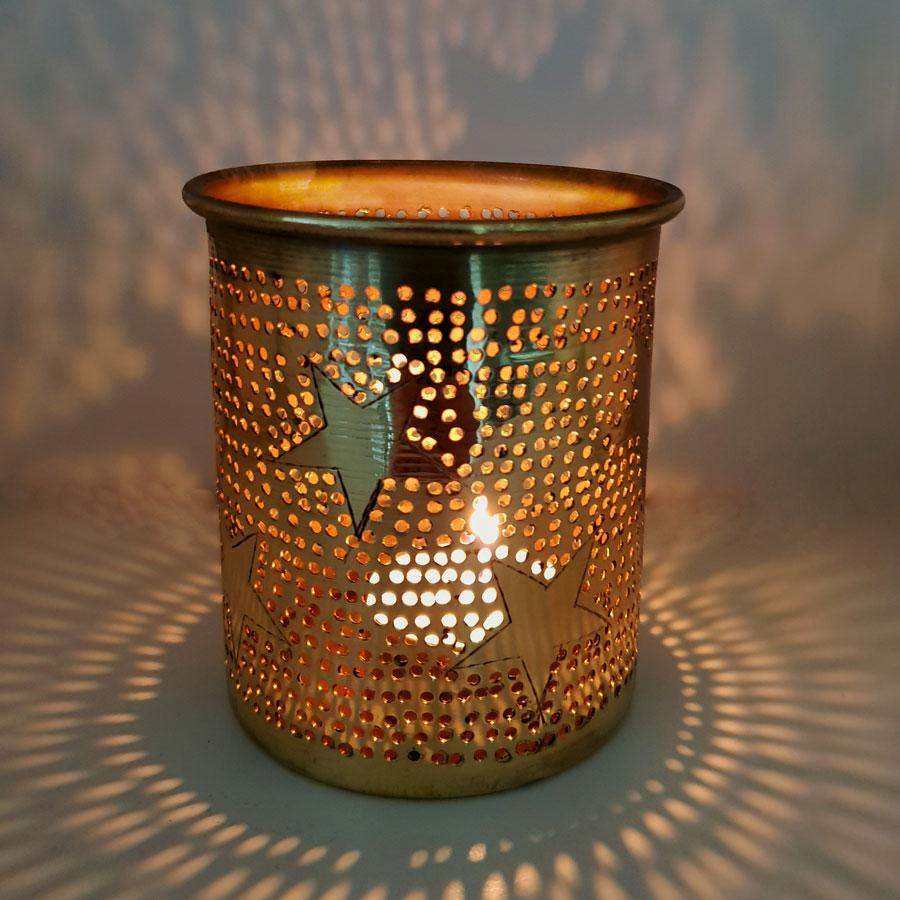 Kaarshouder Samra sterren goudkleurig