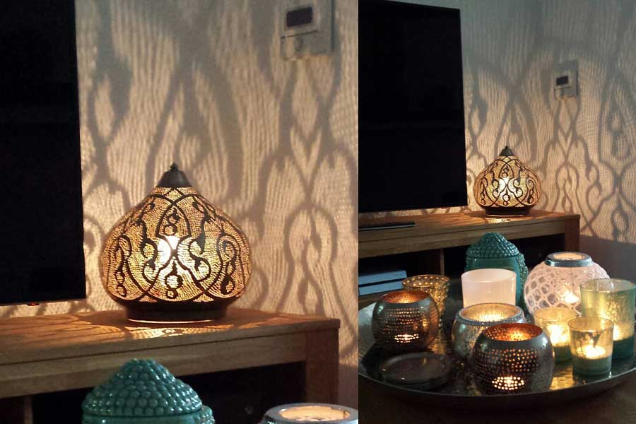 Tafellamp Narjas en kaarshouders Samira