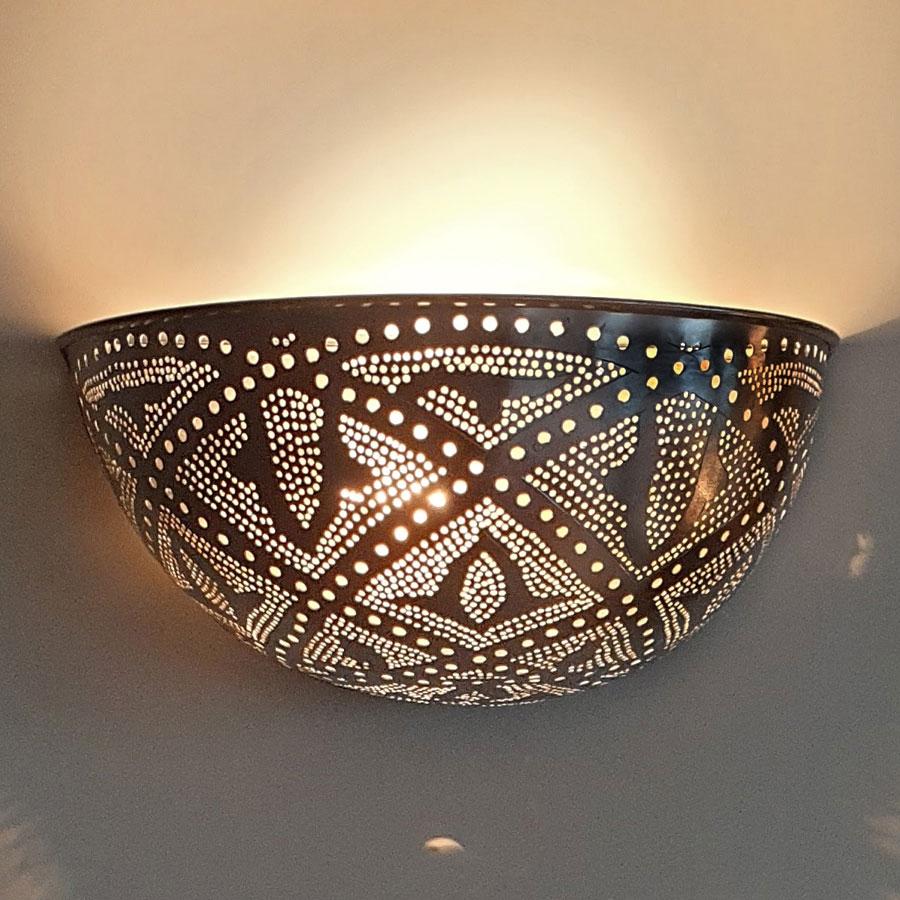 Arabische wandlamp Helal Q - zilver