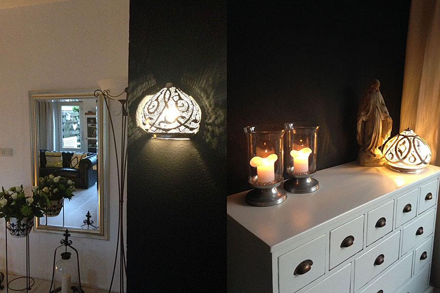 Wandlamp Mieja en tafellamp Narjas