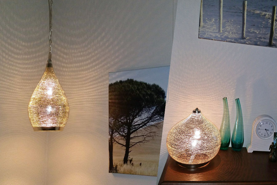 Tafellamp Sahara en hanglamp Tormosa