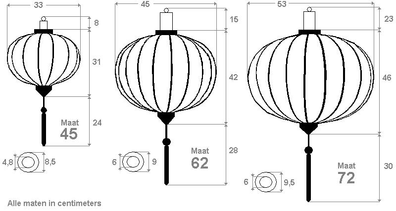 Lampionnen in de vorm van bol rond
