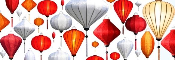Asiatische Laternen oder Lampen
