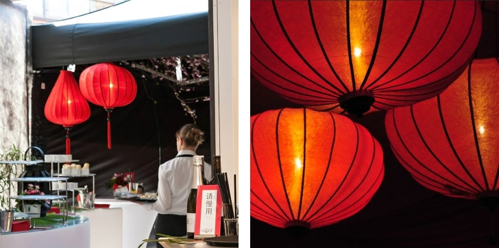 Red chinese lantern lights hanging in a bar