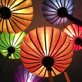 Chinese silk lamps hanging