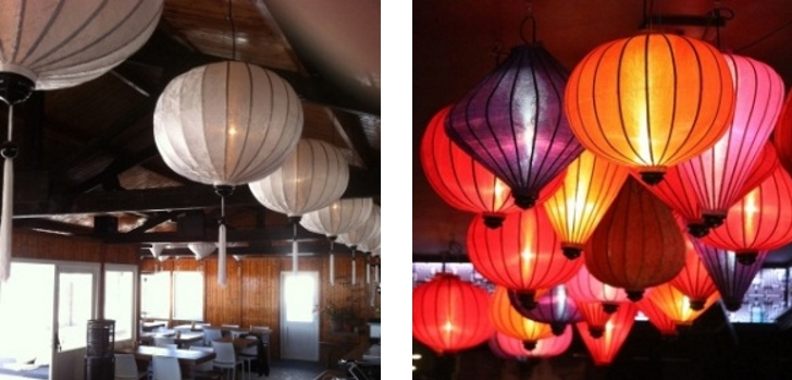 Chinese silk lanterns as hanging lamp