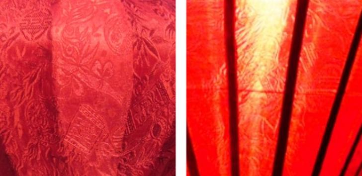 Detail van rode zijde lampion | Rood