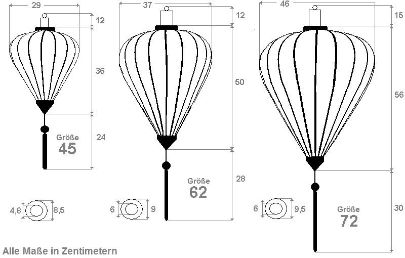 Die Dimensionen der Lanterne in Form eines Ballons