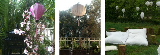 Stimmungsvolle Gartenbeleuchtung mit Lampions