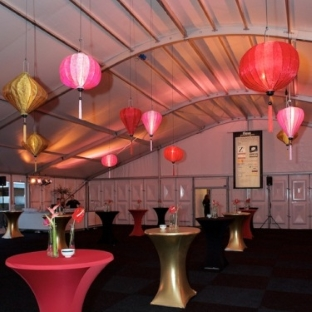 Silk lanterns for event decoration at a party