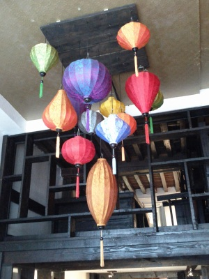 Silk hanging lamps in a restaurant