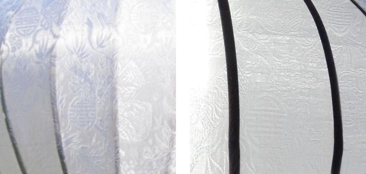 Details witte zijden lampion