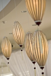 White silk lanterns at a wedding