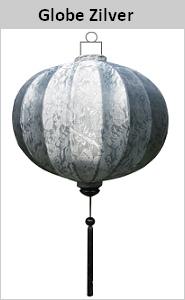 Sfeerverlichting zijden lamp Globe zilver rond