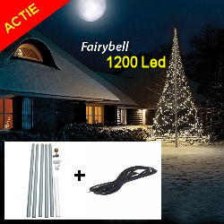 Actiepakket Fairybell 1200 Led warmwit Twinkel + 6M zwarte mast + timer