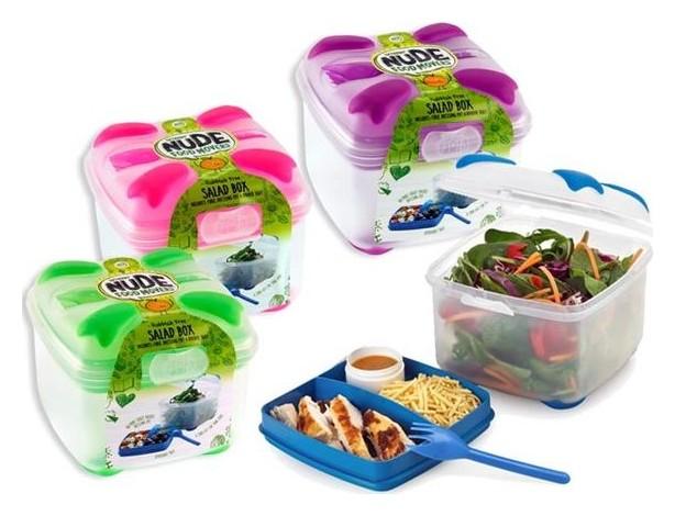 saladebox met inlegtray en sausbakje