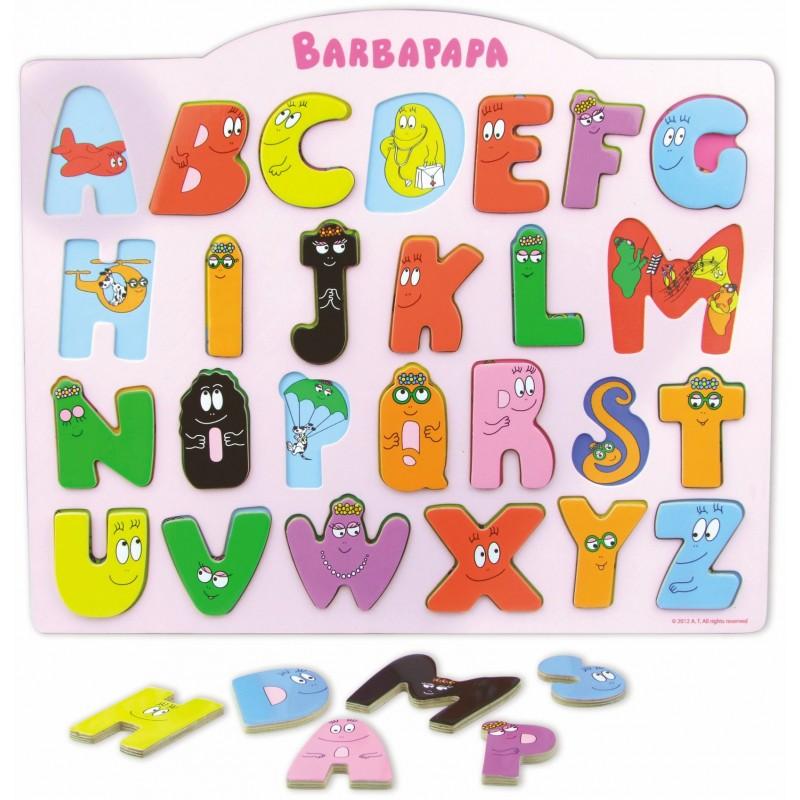 Barbapapa inlegpuzzel van hout alfabet