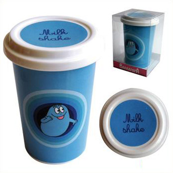 Beker met deksel - blauw (keramiek)