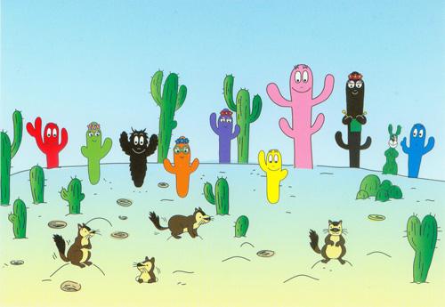 Postkaart Barbapapa woestijn cactus