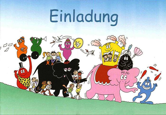 Postkaart Barbapapa Einladung (DE) circus